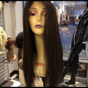 Full lace brown wig Long Freepart Ponytail Wig